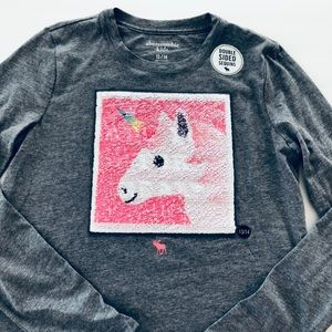 NWT Abercrombie Kids Unicorn Sequin Flip Tee Top